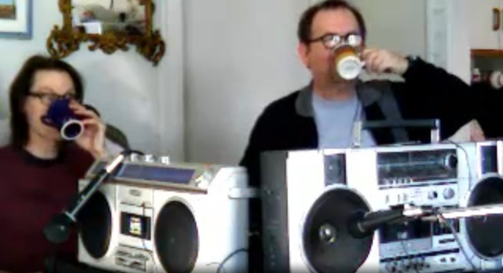 coffee behind boomboxes